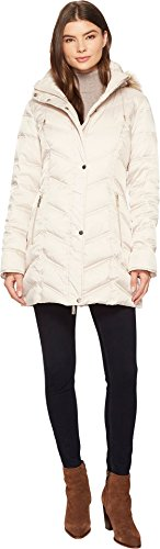 Kenneth Cole New York Women's Chevron Quilted Coat with Fur Hood Frost Large (Chevron Quilted Coat)