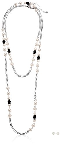 Silver Tone Simulated Cream Pearl and Black Strand Long Necklace, 60