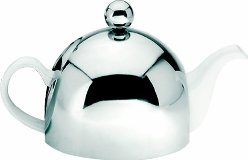 G&H Tea Services Soho 30 2-Cup Ceramic Teapot with Insulated Chrome, White (Ceramic Teapot Small compare prices)