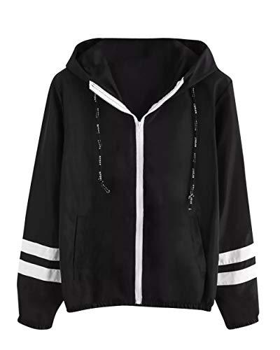 Black Print Pullover Windbreaker Tops Blouse Sweatshirt Womens Sleeve Jacket Hoodie Long MISSMAO Hooded 478RxnR