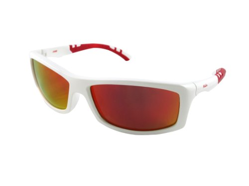 Kele by NYX Cobra Sunglasses, White/Red Gloss Frame/Red Mirror - Nyx Glasses