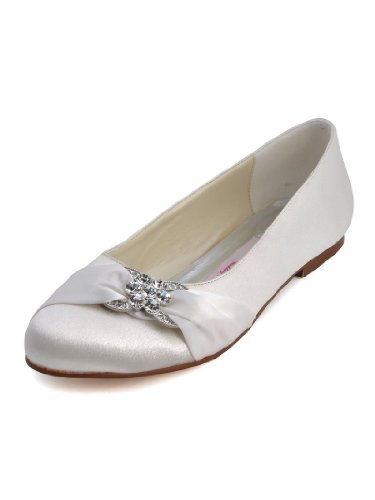 ElegantPark EP2006 Women Closed Rhinestones Comfort Flats Pleated Satin Wedding Bridal Shoes White US 9 ()