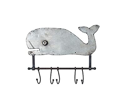Creative Co-Op Metal Whale Wall Décor with 5 Hooks