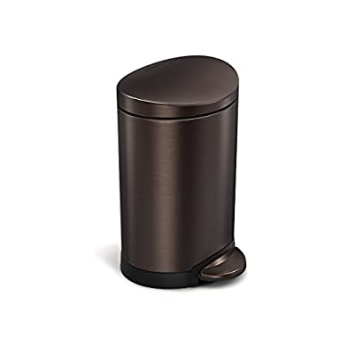 simplehuman Semi-Round Step Trash Can, Dark Bronze Stainless Steel, 6 L / 1.6 Gal