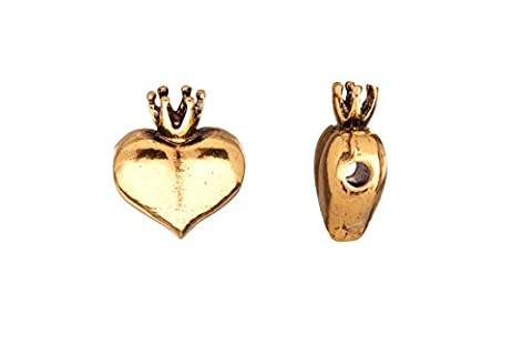 cord slider beads, antique-gold finished heart with crown crystal setting 21x18mm fits 2.5mm Swarovski - Crown Slider Charm