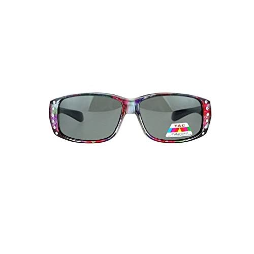 6de56caa9a69 best Polarized Rhinestone Sunglasses Fit Over Oval Rectangular Cover  Sunglasses - Wear Over Prescription Glasses