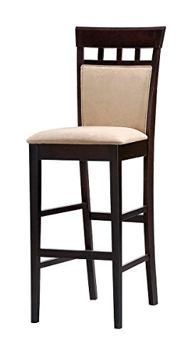 Coaster Hyde 29 Inch Upholstered Panel Back Cappuccino Bar Stool