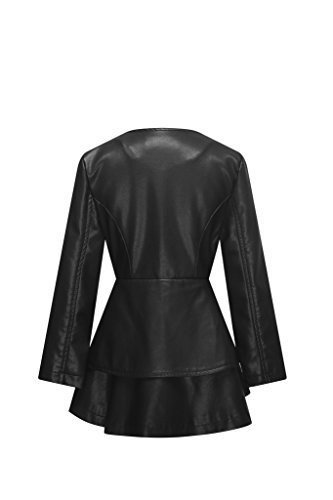The Twins Dream Girls Faux Leather Coat Toddler Jacket for Kids Dress Coat with Emboss Rose 3-12y by The Twins Dream (Image #2)