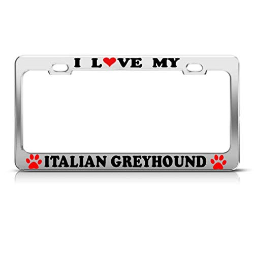 zhangjialicense Italian Greyhound Dog Dogs Aluminum License Plate Frame Tag Border Aluminum Screws and 2 ()