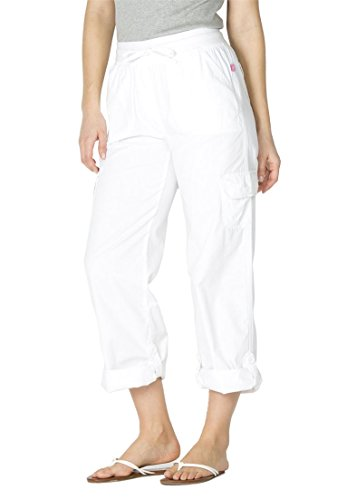 Linen Capris (Woman Within Women's Plus Size Pants With Convertible Length White,20 W)