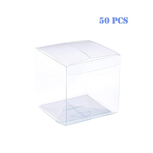 Clear PVC Plastic Boxes 2 x 2 x 2 inch Plastic Gift Box for Wedding, Party, Birthday Presents, Candy, Cupcakes, Jewelry,Transparent Packing Box Party Favors, 50 Pcs -