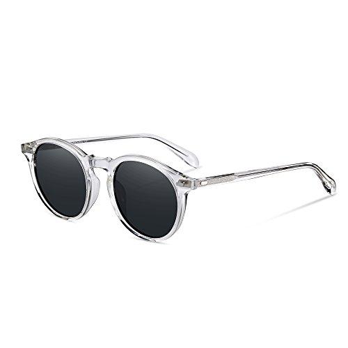 EyeGlow Vintage Round Sunglasses Women Polarized Lens 5187 Acetate material (clear vs grey polarized lens, As pictures) (Grey Lens Vintage)
