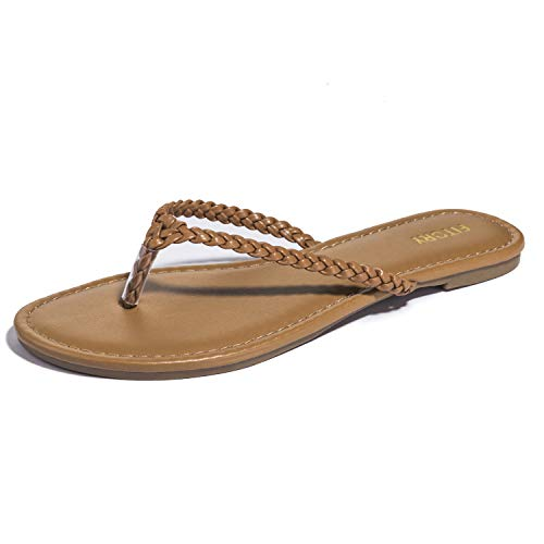 Womens Flip Flops, Easy Braided Thong Flat Sandals for Summer Brown