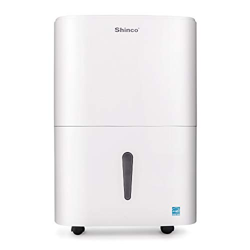 Shinco 50 Pint Mid Size Portable Dehumidifier for mid Size Rooms up to 3000 Sq.Ft - for Home, Basement, Bedroom, Bathroom - Energy Star, Quiet, Portable with Wheels, and Drain Hose Outlet