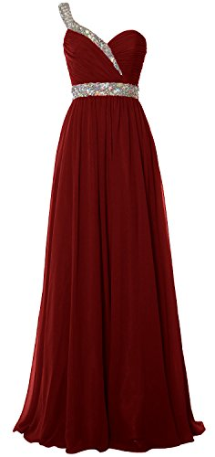 MACloth Women One Shoulder Crystals Long Prom Dress Chiffon Evening Formal Gown (4, Burgundy) (Fancy Dress Outlet)