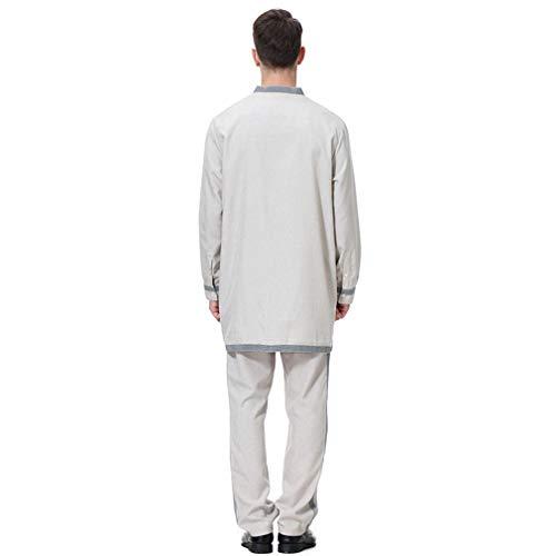 Eleganti Zhbotaolang Caftani Islamic Dress Maschili Kaftano Grigio Vesti Abito Camicia Lunghi Invernale Abiti Musulmano ZW76rqnZ