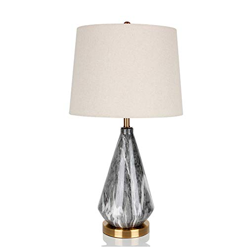 Deevin Simple Living Room Table lamp Ceramic, Imitation Marble Ceramic lamp Body for Bedroom, Study. Linen Embroidered lampshade, White and Black