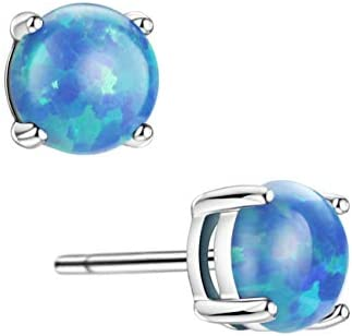 Opal Stud Earrings Sterling Silver Solitaire Style Jewelry For Women Girls 4 Prongs Setting 5mm