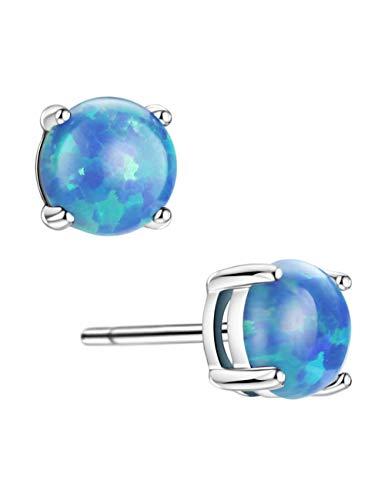 Blue Opal Stud Earrings Sterling Silver Solitaire Prongs Setting Earrings for Women Girls
