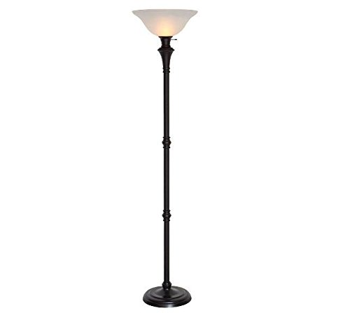 Alabaster White Floor Lamp ((Ship from USA) 72.75 In. Bronze Floor Lamp White Bell Shade Home Decor Metal 3 Light Levels NEW /ITEM)