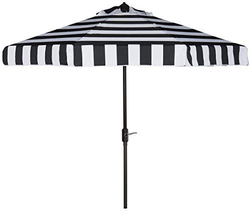 Safavieh PAT8003A Outdoor Collection Elsa Fashion Line Auto Tilt Umbrella, 9', Black/White (Outside White Furniture)