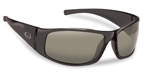 Flying Fisherman Magnum Polarized Sunglasses (Shiny Black Frame, Smoke Lenses)