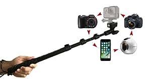 Quik Pod SPORT Waterproof GoPro Selfie Stick, Durable Aluminum Construction, Salt-Waterproof, Extendable Arm 15.5 to 39 Inches, 360 Degree Pan and Tilt, Rubber Handle, Black, 7.3 Ounces