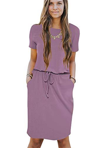 (Poulax Women's Casual Short Sleeve Empire Waist Knee Length Dress with Pockets,02 Purple,XL)