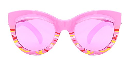 TIJN Kids Girls Mirrored Lens Cateye Polarized Sunglasses with Cute - Girl Thick Glasses
