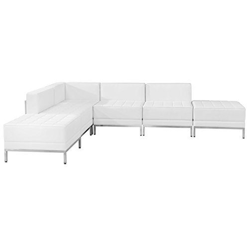 Flash Furniture HERCULES Imagination Series Melrose White Leather Sectional Configuration, 6 Pieces by Flash Furniture