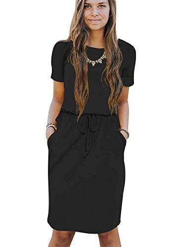 Poulax Women's Casual Short Sleeve Empire Waist Knee Length Dress with Pockets,02 Black,XL