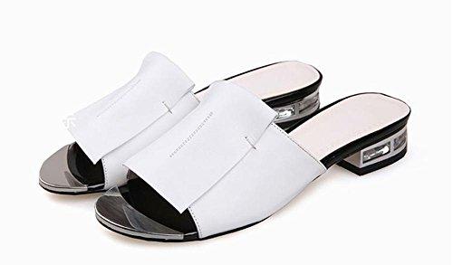 primera capa de piel de sandalias de cuero y sandalias de los deslizadores de las mujeres blanco