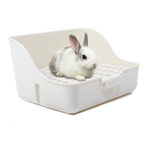 (M-Aimee Square Potty Trainer Corner Litter Bedding Box Pet Pan for Small Animal/Rabbit/Guinea Pig/galesaur/Ferret(White Color))