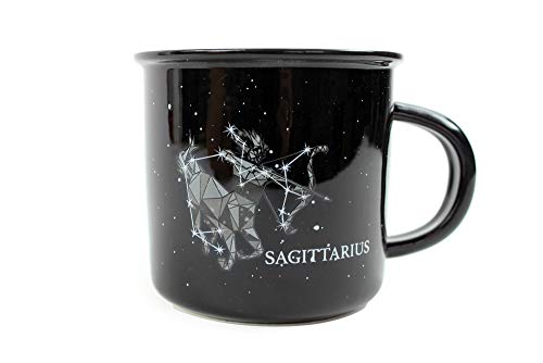 (Stargazer SAGITTARIUS Astrology Camp Mugs by Creature Cups | Ceramic Horoscope 13.5 Ounce Cups with Traits Revealed Inside | Birthday Constellation Signs | Holiday Gift for Coffee & Tea Lovers)