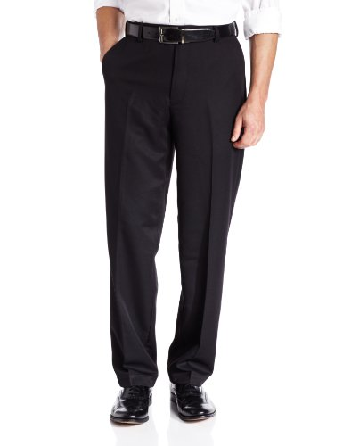 IZOD Men's Flat Front Classic Fit Microsanded Golf Pant, Bla
