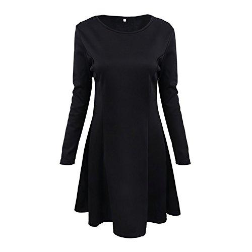 iShine Sra Vestido de cuello redondo de manga larga ocasional de espesor negro
