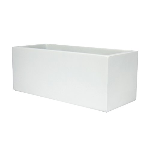 Fiberglass Garden Planter (Belmont Rectangle Fiberglass Planter Box, White, L:24