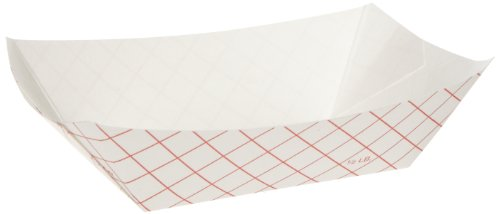 Dixie RP50 Kant Leek Clay-Coated Paper Food Tray, 3 3/4 x 1 2/5 x 5 3/10, Red Plaid (Case of 1000) by Kant Leek
