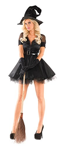 Party King Women's Bewitching Pin-Up Witch Sexy 3 Piece Costume Set, Black, X-Large