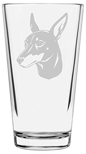 (Toy Manchester Terrier Dog Themed Etched All Purpose 16oz Libbey Pint Glass )