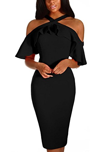 Dokotoo Womens Special Occasion Formal Frill Cold Shoulder Ruffle Short Sleeve Halter Bodycon Evening Cocktail Midi Pencil Dress Party Black