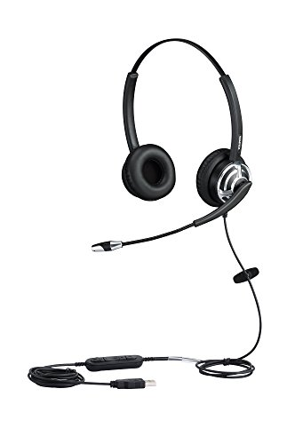 Skype Usb Phone Mac (USB Headset for Call Center with Noise Cancelling Microphone For Phone Mac Skype Microsoft Lync With Voice Recognition Mic for Drangon With Volume Controller Mic Mute and Call Button)