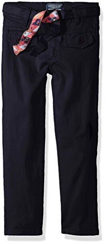 - CHEROKEE Little Girls' Uniform Stretch Twill Pant with Belt and Flap Pocket, Navy, 5
