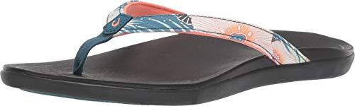 OLUKAI Women's Ho'Opio Sandal, Teal Coral/Black, 9 M US