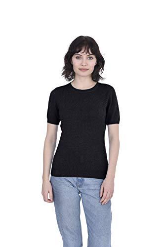 Cashmeren Women's 100% Pure Cashmere Short Sleeve Knitted Crew Neck Sweater (Black, Medium)