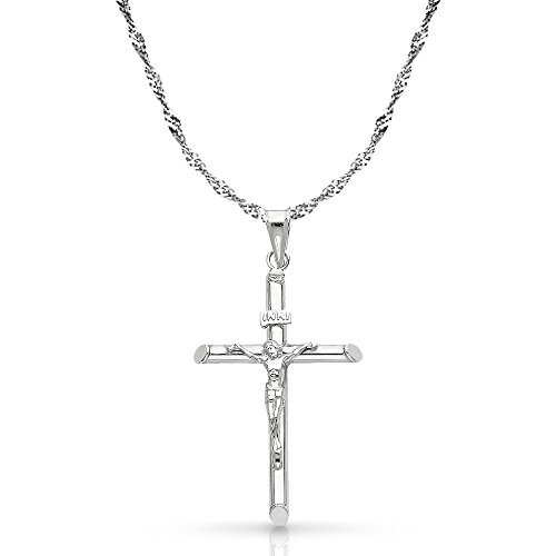 14K White Gold Crucifix Cross Pendant with 1.2mm Singapore Chain Chain Necklace - 18