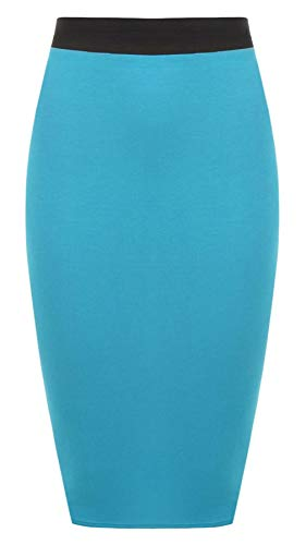 STYLE Noir Turquoise RIDDLED Jupe WITH Uni Taille Femme Unique B554Twq