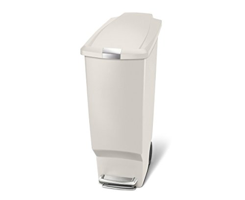 Plastic cans simplehuman slim plastic step trash can for Marble bathroom bin