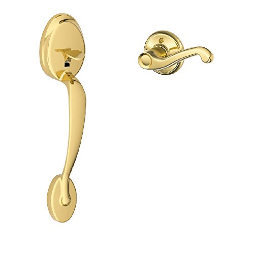 Schlage Lock Company Plymouth Front Entry Handle Flair Left-Handed Interior Lever (Bright Brass) FE285 PLY 505 FLA 605 (Fla Lh Plymouth)