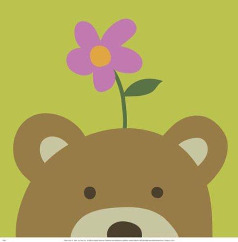 Peek A-boo Vi Bear - Peek-a-Boo VI Bear by Yuko Lau Childrens Print Poster 12x12